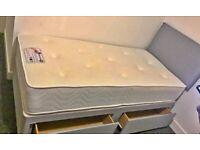 Brand New Single Divan Bed Base with Headboard !! Mattress (Optional)