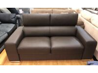 DFS Kalamos brown leather large 2 seater sofa