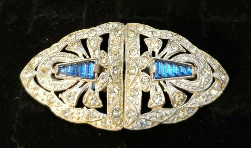 Victorian Dress Clips Estate Ornate W/ Blue Baguette Accents!