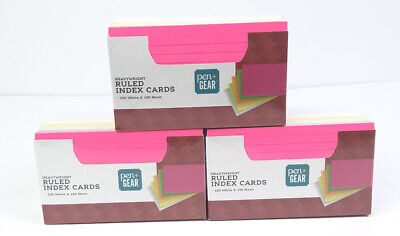 Lot Of 3 Packs 200ct Ruled Index Cards Neon Color Pen Gear 3x5 Heavyweight