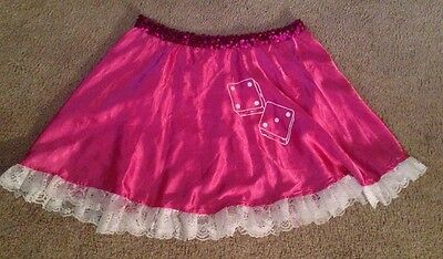 Adult Car Hop 50's costume skirt - hot pink with dice - size medium - Car Hop 50s Costume