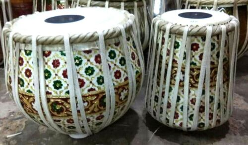 FULL SIZE  NANKSAR SIKH PRO-GRADE INDIAN TABLA DHAMMA SET IN ROSEWOOD AND BRASS