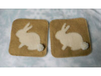 Two matching Felt Bunny Rabbit Coasters with pompom tails ~ hand stitched ~ ideal Christmas Gift