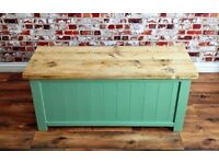 Green Blanket Box Ottoman Storage Trunk with Reclaimed Timber Lid - Brand New - Various Sizes