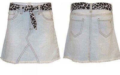 Tractr Girl's Denim Skort Skirt with Leopard Belt  Sz 7 8 10 12
