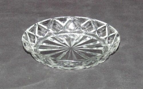 "Anchor Hocking Glass Co. WATERFORD ""Waffle"" Crystal Small Round Coaster"