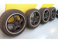 """Japanese style 17"""" 5x114.3 alloy wheels + four good tyres Nissan Honda Mitsubishi Toyota Lexus"""
