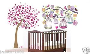 Combo-Flower-Tree-Bird-Cages-Girl-Room-Wall-Sticker-Vinyl-Art-Decor-Mural-Paper