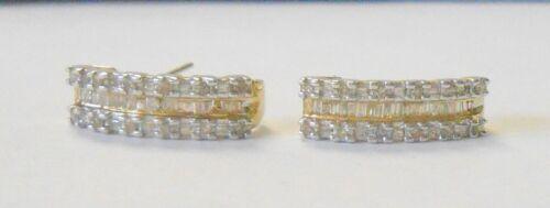 Estate Round & Baguette Diamond Studded 10K White & Yellow Gold Earrings 19 mm