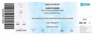 Pair of Guns and Roses Not In This Life Time Tour Concert Tickets Coolangatta Gold Coast South Preview