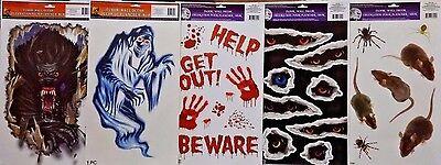 HALLOWEEN Window Clings Werewolf Ghost Eyes Mice Bloody Signs - Halloween Werewolf Eyes