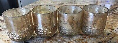 Gold MERCURY GLASS Wedding Votives Candles Holder Set of 4 Tealight