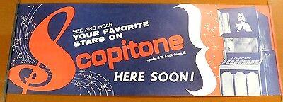 SCOPITONE - Vintage 1960's Music 16mm Film Jukebox COLOR LITHO POSTER BANNER
