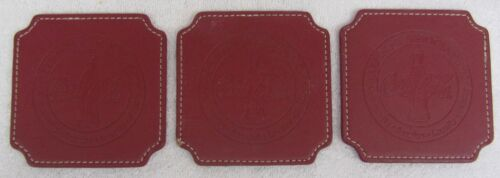 3 Vintage COCA COLA COASTERS Red LEATHER White Stitching Coke Alumni Advertising