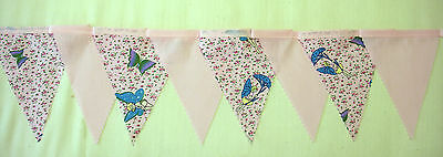 Butterflies and Fairies baby pink fabric bunting  2 mtr Lengths 8 Flags (Butterflies And Fairies)