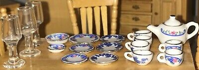 Traditional dolls house furniture - porcelain kitchen cutlery; plates, glass etc
