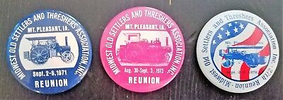 Vtg Midwest Old Settlers and Threshers Association Pinbacks Mt. Pleasant IA GUC