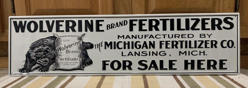 Wolverine Fertilizer Sign Michigan Farm Country Wall Decor Vintage Style
