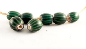Rare Round Antique Venetian 4 Layer Green Chevron African Trade Beads - Set of 7