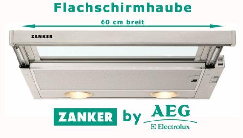 Zanker Flachschirmhaube Edelstahl 60cm Dunstabzugshaube Abluft Umluft