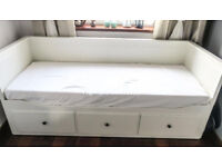 Ikea hemnes day bed with 1 quality mattress (14cm thickness) / single converts to kingsize bed