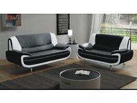 LIMITED STOCK**SUPER SALE**BRAND NEW -PU LEATHER SOFA- IN RED WHITE BLACK 3 AND 2 SEATER SOFA