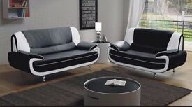 SUPERB FINISH AND CHROME LEGS: NEW CAROL 3 AND 2 SEATER SOFA SUITE FOR SALE - BRAND NEW- SALE!