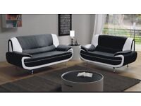BLACK GREY RED BROWN AND WHITE- BRAND NEW CAROL FAUX LEATHER 3+2 SEATER SOFA - SAME DAY DELIVERY