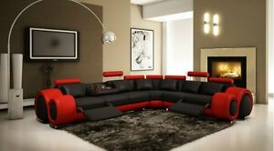 4087 RED WITH BLACK LEATHER SECTIONAL SOFA WITH RECLINERS