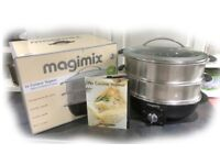 MAGIMIX ELECTRIC STAINLESS STEEL 2-TIER OVAL STEAMER, VERY LITTLE USED, IN EXCELLENT CONDITION