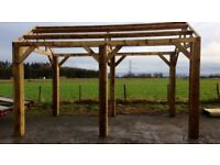 new 4.8m x 4.2m wooden car port hot tub bbq shelter