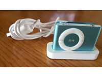 Apple iPod shuffle 2nd Generation Light Blue (2GB) Complate with Desk Charger & Earphones New