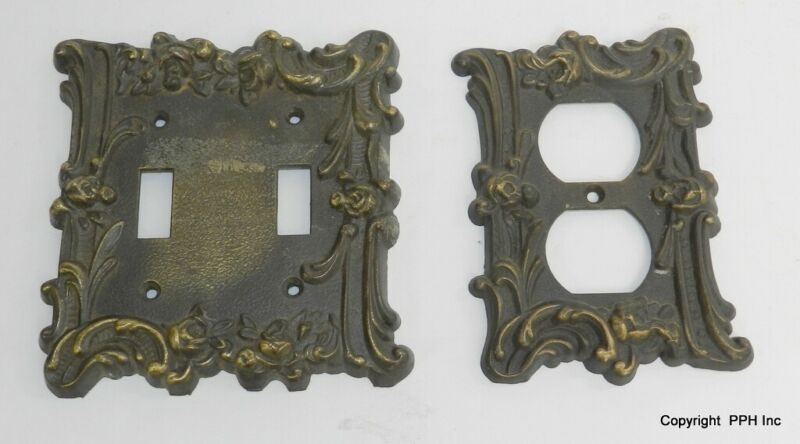 2  Brass M.C. Co Electrical Switch & Outlet Cover Plates  GIM Antique Vintage