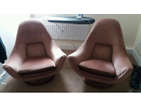 Pair space age designer chairs 60s or 70s fresh from house clearance