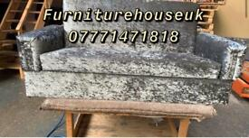 2 seater bed settee in grey crushed velvet