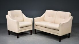 Danish Vintage two seater Sofa and Armchair upholstered with light wool