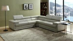 LORD SELKIRK FURNITURE - Zenith - 3PC Sectional in Black or Brown Leather Gel Material for $1599 Tax Incl.