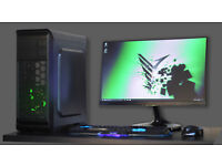 Fast Gaming PC Computer Desktop Intel Quad Core Windows 10 Nvidia GTX LED Quiet Fan