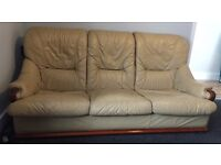 Genuine leather beige suite - 3 seater and 2 arm chairs £200 for set OFFERS WELCOME