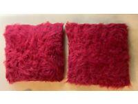2 burgundy/wine coloured cushions