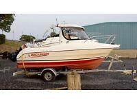 Quicksilver 500 pilothouse, 75hp Mariner outboard 4 stroke, indespension roller coaster trailer