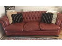 Vintage leather Chesterfield 3 pce suite