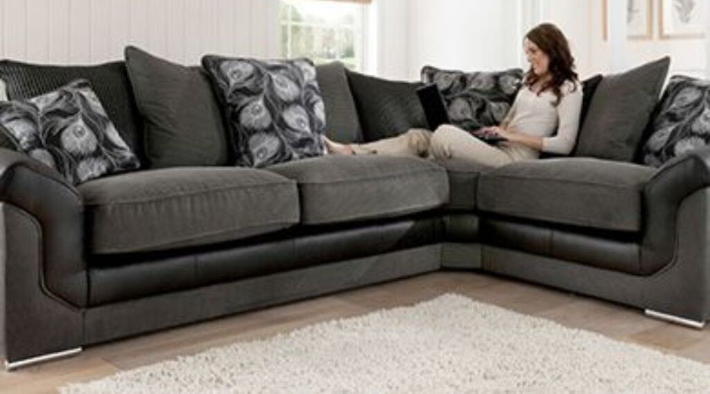 Black Grey Brand New Corner Sofa Express Free Delivery