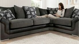 BLACK AND GREY BRAND NEW CORNER SOFA EXPRESS FREE DELIVERY