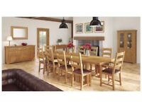 LARGE VINTAGE GRAND CHAUTEAU SOLID OAK EXTENDING TABLE AND 8 CHAIRS