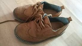Brown leather boys shoes size 7