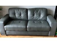 2 Grey Leather Sofa's 3 seater and 2 seater 10 weeks old