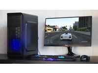 Gaming PC Computer Desktop Intel Quad Core Windows 10 Nvidia GTX Blue LED Quiet Fan