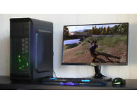 New Fast Gaming PC Intel Quad Core 8GB DDR3 Windows 10 Nvidia GTX Blue LED Quiet Fan