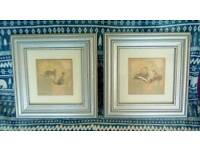PAIR OF BEAUTIFUL SAFARI THEMED PRINTS IN HAND PAINTED WOODEN FRAMES